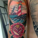 Traditional light house tattoo
