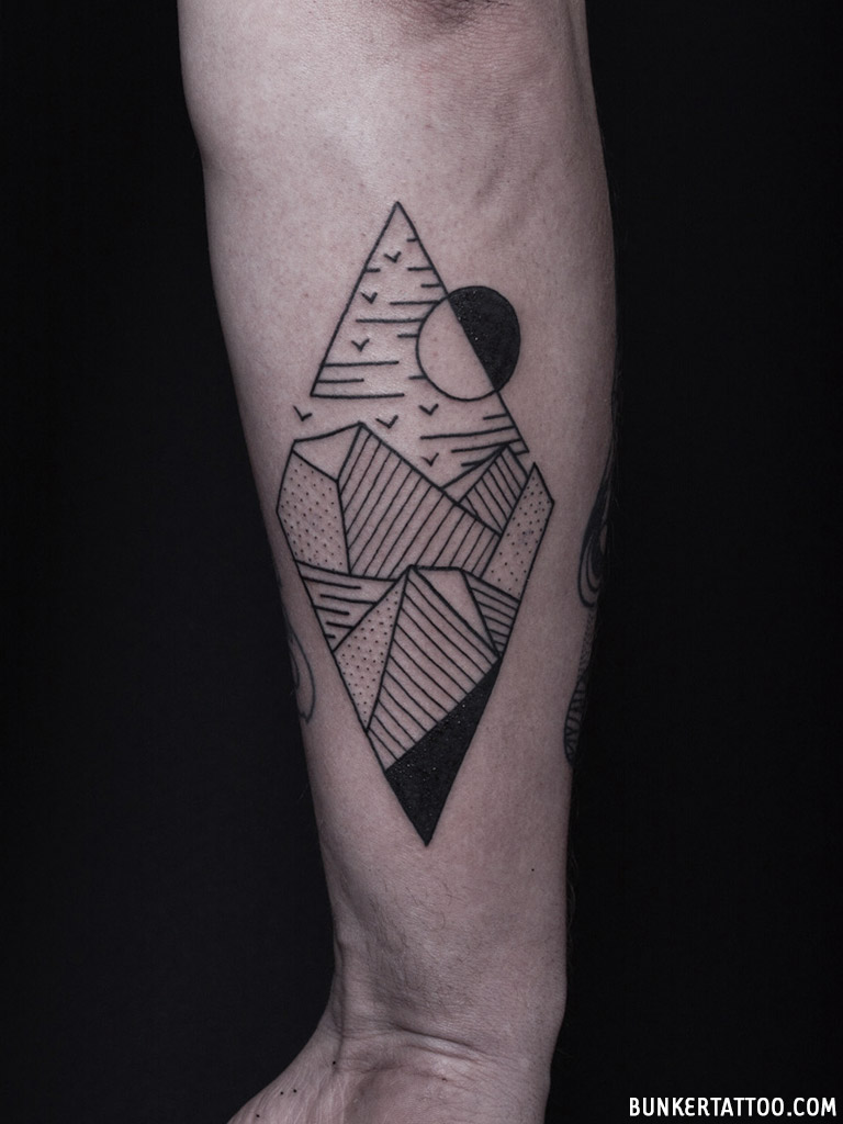 Geometric Landscape Tattoo Bunker Tattoo Quality Tattoos