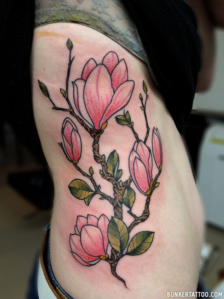 Magnolia Flowers On The Ribs Tattoo Bunker Tattoo Quality Tattoos