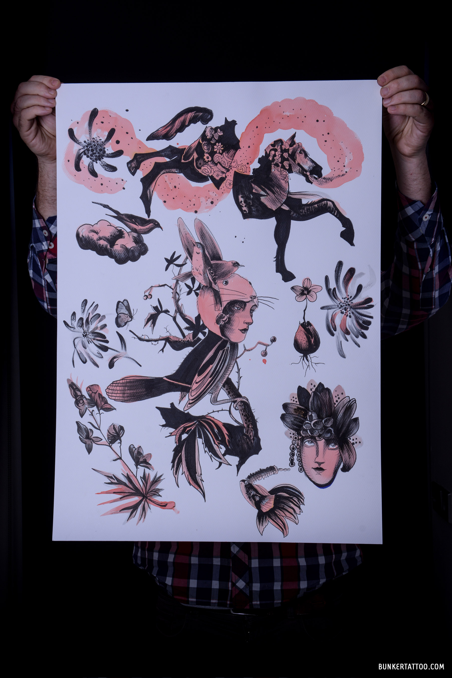Rutger print: black and pink